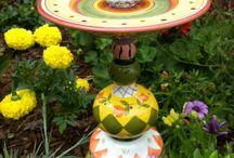 DIY Garden Art / Inspiration for repurposing glass into art for tue garden.