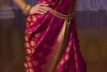 purple and green saree