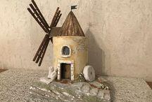 Mühle und Häuser