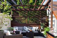 Pergola, screen walls & terrace