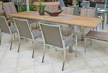 Gartenmöbel aus Edelstahl / Gartenmöbel und Gartenmöbelsets aus Edelstahl und den Materialien wie Teakholz, Granit, Textilene, Polyrattan, Kunststoffgeflecht, Keramik