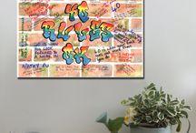 Milestone birthdays / Canvas Art Prints, A1 and A2.  www.splashyartystory.com