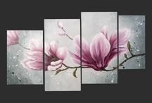 quadri floreali pittura materica