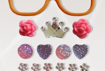 """Orange Ya Glad / Bring out your inner princess! This kit includes: Orange frames (5.25"""" x 1.5""""), 2 pink roses, 1 silver princess crown, 2 light pink fairy dusted circles, 2 purple hearts, 6 small silver flowers, 2 light pink squares, 2 purple squares"""
