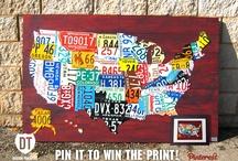 Pin It to Win the Print! / Pin or repin the image below to qualify to win a matted & framed print of one of my signature pieces—a large license plate map of the United States! Contest runs through March 31st, 2012. Good luck!