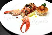 Mariscos / En Quinta los Rosales nos esforzamos tanto por la calidad como por la presentación, imagen y textura en cada plato. Prueba de ello os lo mostramos con algunos de nuestros platos de Marisco para la elección de el Menú de Boda.