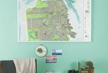Pantone Green Inspiration / Contemporary maps, art, design, interiors and the colour of the year - Pantone Green.