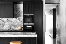 Black Kitchens / Countertop ideas for a black kitchen