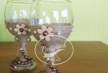 Unique rustic handmade wedding glasses