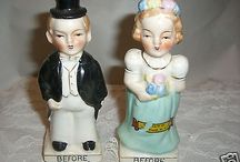 BEFORE AND AFTER VINTAGE 40'S SALT & PEPPER SHAKERS-SOUVENIR LAKE PLACID NY-MINT