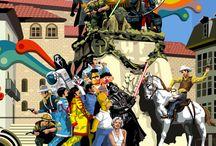 EUSKADI Pop - Vitoria, Bilbao, Donosti y Zarautz / Fragmentos de ilustraciones relacionadas con capitales vascas