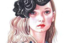 FASHION ILLUSTRATION &Art Mediums / drawings, sketches, Ai