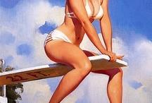 """Pin-up /           Pin-up é uma modelo cujas imagens sensuais produzidas em grande escala exercem um forte atrativo na cultura pop. Destinadas à exibição informal, as pin-ups constituem-se num tipo leve de erotismo. As mulheres consideradas pin-ups são geralmente modelos e atrizes, mas também se pode encontrar outros tipos de Pin Up's que são as mais """"comportadas"""", porém utilizam um pouco do erotismo da Pin-Up. Embora elas sejam realmente muito sensuais, temos a mistura do clássico romantismo."""