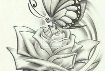 růže a motýl