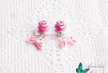 Clip earrings with roses made in polymer clay in retro style
