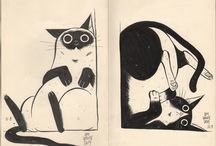 Cats / Cats drawings in graphic materials, pencil, charcoals