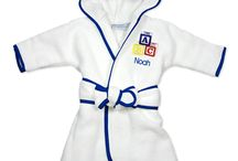 Personalized Infant Robes / 100% Cotton, terry velour, includes a hood and belt, length is 21 inches from back of neck to hem, personalized with a name of your choosing.