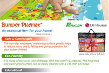 Bumper Playmat™ Parklon / A one-piece playmat made of heavy-duty, non-slip and eco-friendly soft PVC material. It has colourful reversible printed surface that comes with educational words and numbers. It is waterproof, easily cleaned with a damp sponge/cloth and soap. Why Bumper Playmat? It provides comfortable cushioning and padding for your child's play area. A safe and ideal place for crawling, laying and sitting babies; prevent injuries from knocking against hard floor sufaces.