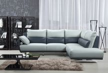 Modern Genuine-Leather Light Grey Leather Sectional