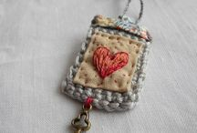 Embroidered heart necklace