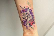 sleeve colorfull unicorn tattoo