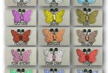 PAPILLONS LOISIRS CREATIFS / en soie, en dentelle, en film transparent polyester..des papillons de toutes les tailles pour vos loisirs créatifs.