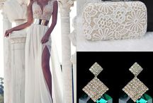 Dress,handbag and earings idea