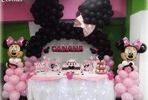 Decoración de Minnie Mousse Rosado y Blanco / Arco de orejitas de minnie en globos, mesa de dulces, 1er añito/cumpleaño de niña