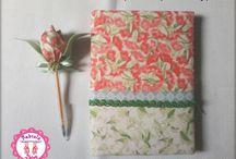 Cadernos decorados com tecidos by Fabíola Deiró