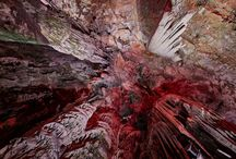 gibraltar / Stalactites inside of the St. Michaels cave in Gibraltar