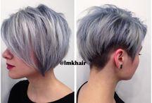 hair / funky hair, short hair, silver/grey hair
