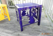 Tables / Tables built in house with custom designed inserts cut on our CNC plasma table