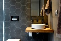 Bathroom tikes / Gray hexagon