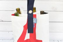 Four Way Upcycled Sailcloth Bottle Bag