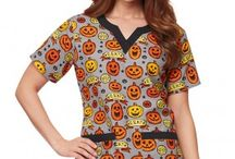 Fall prints: Halloween scrubs + Thanksgiving scrubs