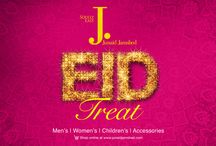 Eid Treat / Junaid Jamshed brings its effervescent Eid Treat for the entire family, adomed with bright hues of happiness and intricacies of a blissful joy. From lawn prints to pret lines, from wide range of menswear to sparkling jewelry; there's a signature J. for the young and the young at heart alike. Here's wishing a happy Eid to you!