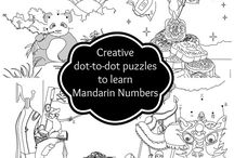 Workbook for Mandarin Numbers / Are you looking for a creative and engaging way to teach your children Mandarin numbers? Check out our educational and fun  workbook focusing on Chinese numbers! Your children will giggle as they enjoy games, puzzles, and dot-to-dot challenges in our creative, multi-sensory coloring book.