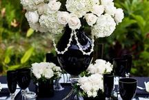 BLACK decorations/centrepieces/set up