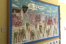 J5 B&F Figurative art 2015-16 / A collaborative display based on Lowry's 'Coming from the mill'