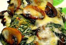 spinach cream, chick, mushrooms