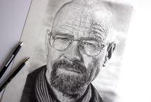 Portrait / Portrait de Walter White  (Heisenberg ;) Réalisé aux crayons graphite, article à voir sur dessin-creation.com