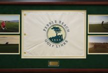 Golf Memorabilia / We custom frame golf flags, golf balls, even clubs in shadowbox frames, all done here in our Edison NJ store.