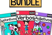 Teach and Tell Us TPT shop / Classroom resources with Spanish and dual language activities