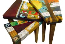 Art Furniture / The hand-crafted, hand-painted art furniture by Sticks always exhibits a quirky exuberance. Here at Lanning Gallery we not only offer completed pieces in our own design choices and color palettes but we frequently guide clients through the process of creating custom pieces for themselves - the options are endless!
