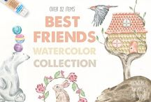 Watercolor Graphic Bundles / Premium Watercolour Graphic Bundles and Resources for Crafters and Designers.