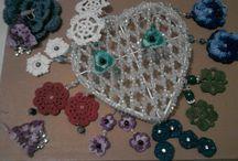 earrings / crochet and buttons earrings