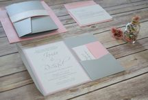 Rose Quartz and Silver Wedding Invitations