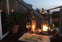 Speisen / flammkuchen und Wein - vielleicht am letzten warmen Sommerabfnd in diesem Jahr