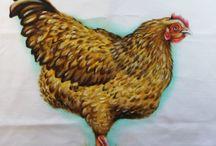 kippen tekenen / schilderen