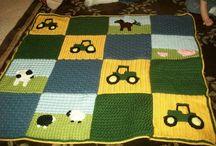 Crochet afghans tractors animal field
